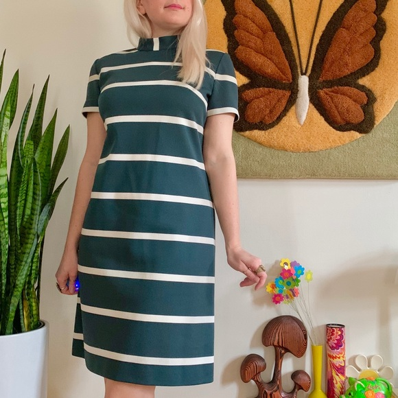 Vintage Dresses & Skirts - Mod 1960s striped mock neck mini dress S/M